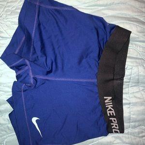 DARK BLUE NIKE PRO shorts S